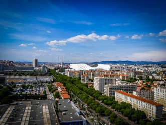View towards the centre from the rooftop of the Unite. The Velodrome stadium is very close