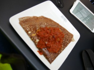 Quick lunch time : a speciality from Bretagne, a kind of crepe with tomato and cheese