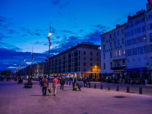 Blue hour. shot just after sunset in the old port of Marseille