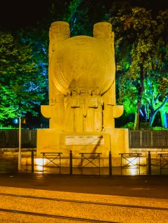 The monument to peace at boulevard Louis Salvator. The figures in the base are Justice, Law, Liberty and Work