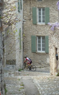 Vaison old town cyclist