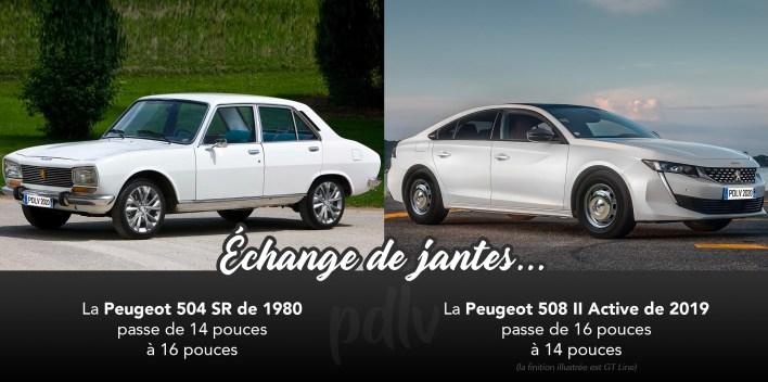 Peugeot 504 et 508 échange de roue