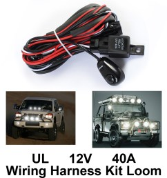 wiring harness kit loom for led work driving light bar with fuse relay 12v 40a [ 1024 x 1024 Pixel ]