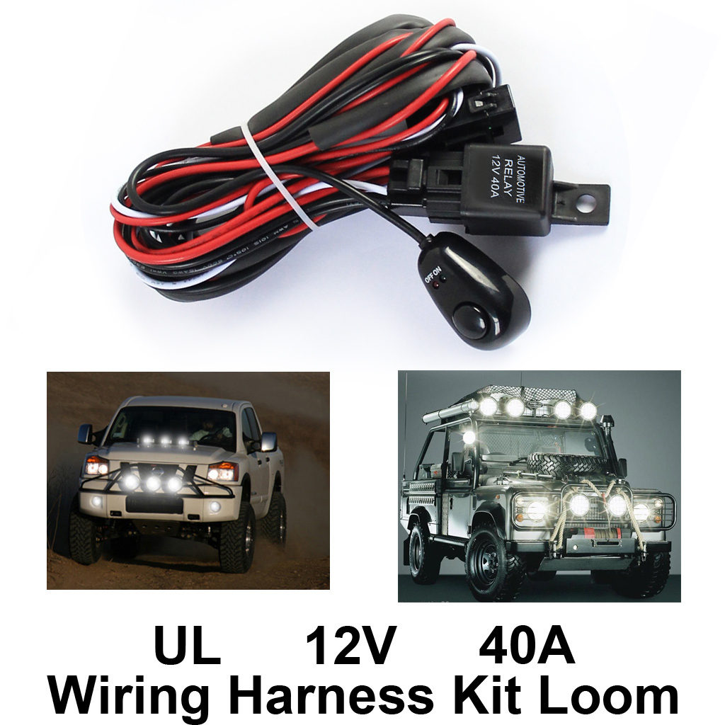 hight resolution of wiring harness kit loom for led work driving light bar with fuse relay 12v 40a