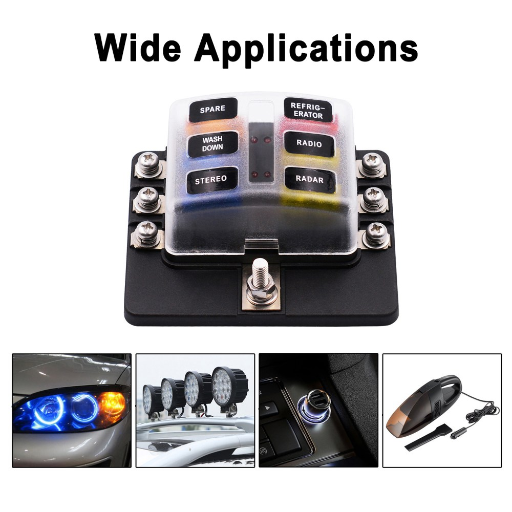 medium resolution of vetomile 6 way fuse box blade fuse holder 5a 10a 15a 20a free fuses led indicator waterproof cover for automotive car marine boat