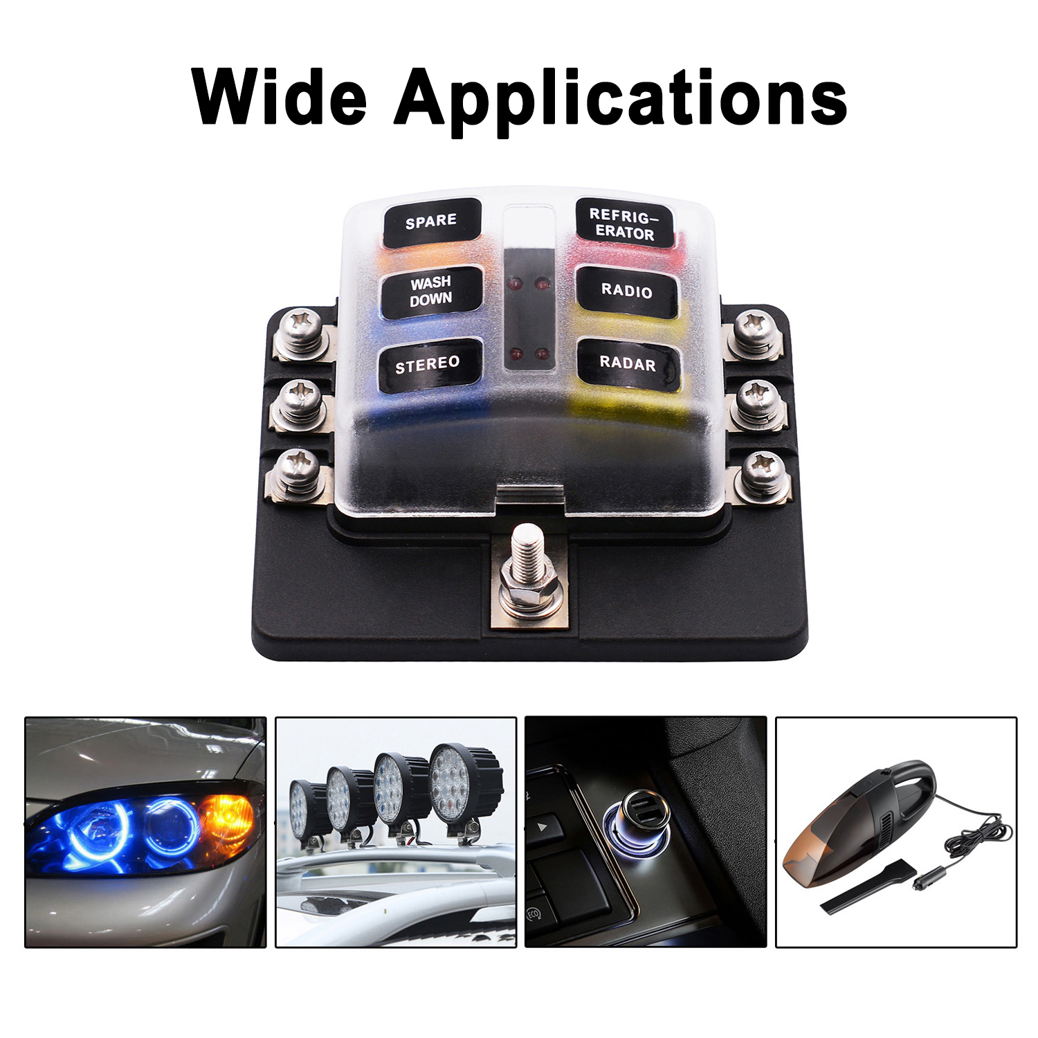 hight resolution of vetomile 6 way fuse box blade fuse holder 5a 10a 15a 20a free fuses led indicator waterproof cover for automotive car marine boat