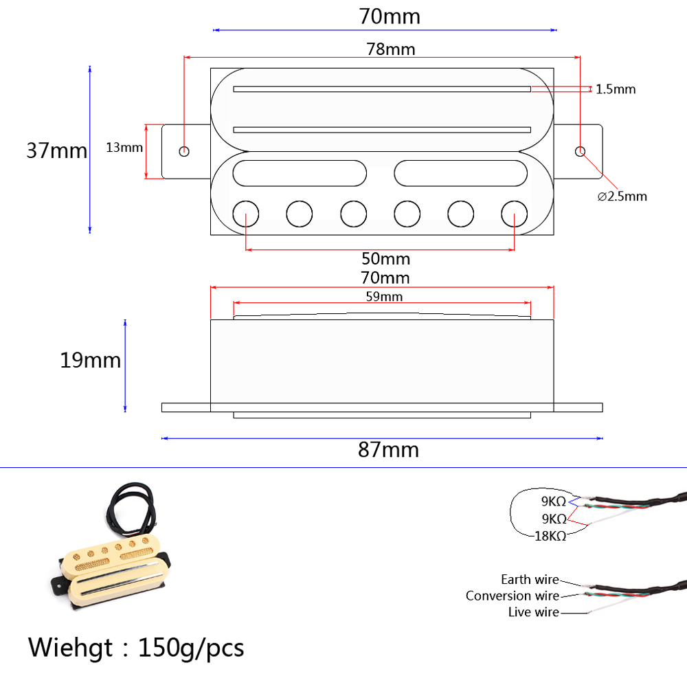 medium resolution of measurement between the centre of the 2 screw holes is approx 7 5cm material cooper iron and anlico v neck pickup r 9 kohm