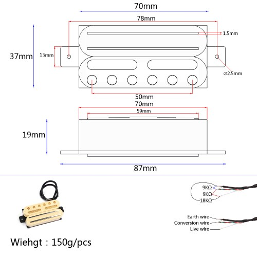 small resolution of measurement between the centre of the 2 screw holes is approx 7 5cm material cooper iron and anlico v neck pickup r 9 kohm