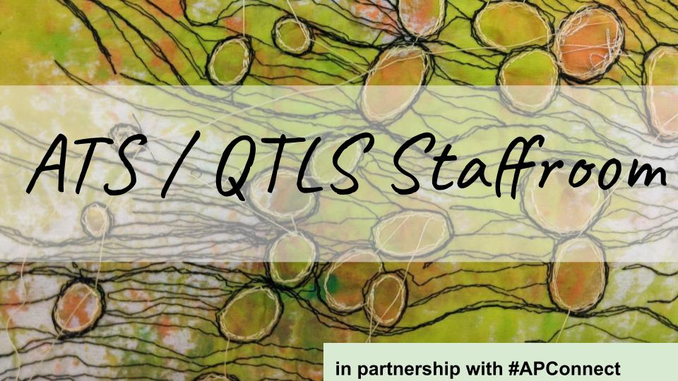 Tapestry image: ATS/QTLS Staffroom in partnership with APConnect