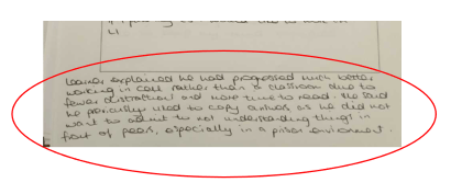 handwritten text written by a tutor backing up Esther's points in text.