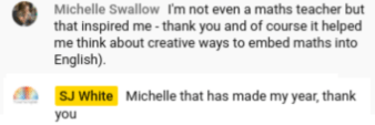 Screenshot of YT comment from Michelle: I'm not even a maths teacher, but that inspired me!