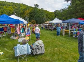 vendor tents and visitors