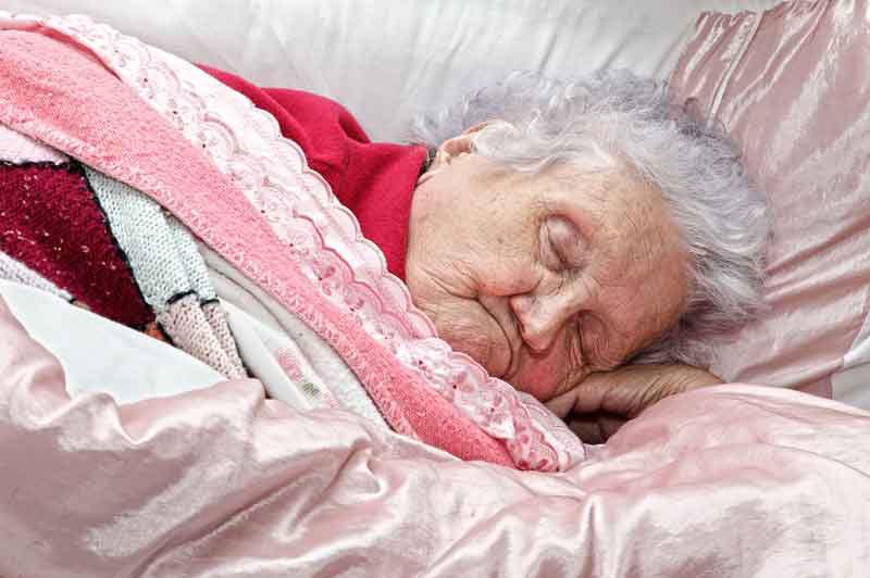 Elderly woman sleeping