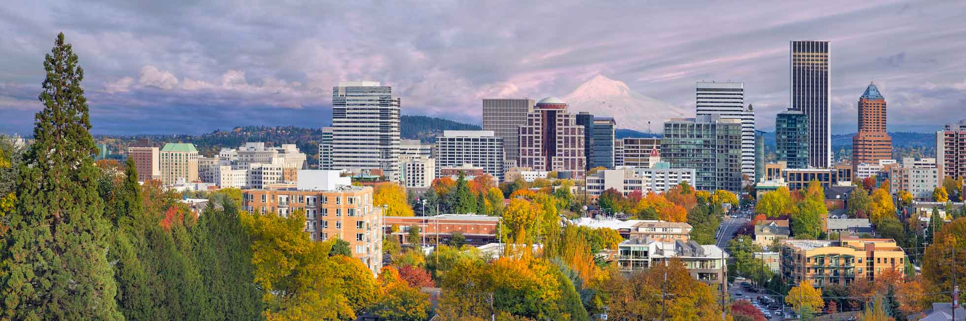 City of Portland skyline in autumn, showing Mt. Hood in the background.