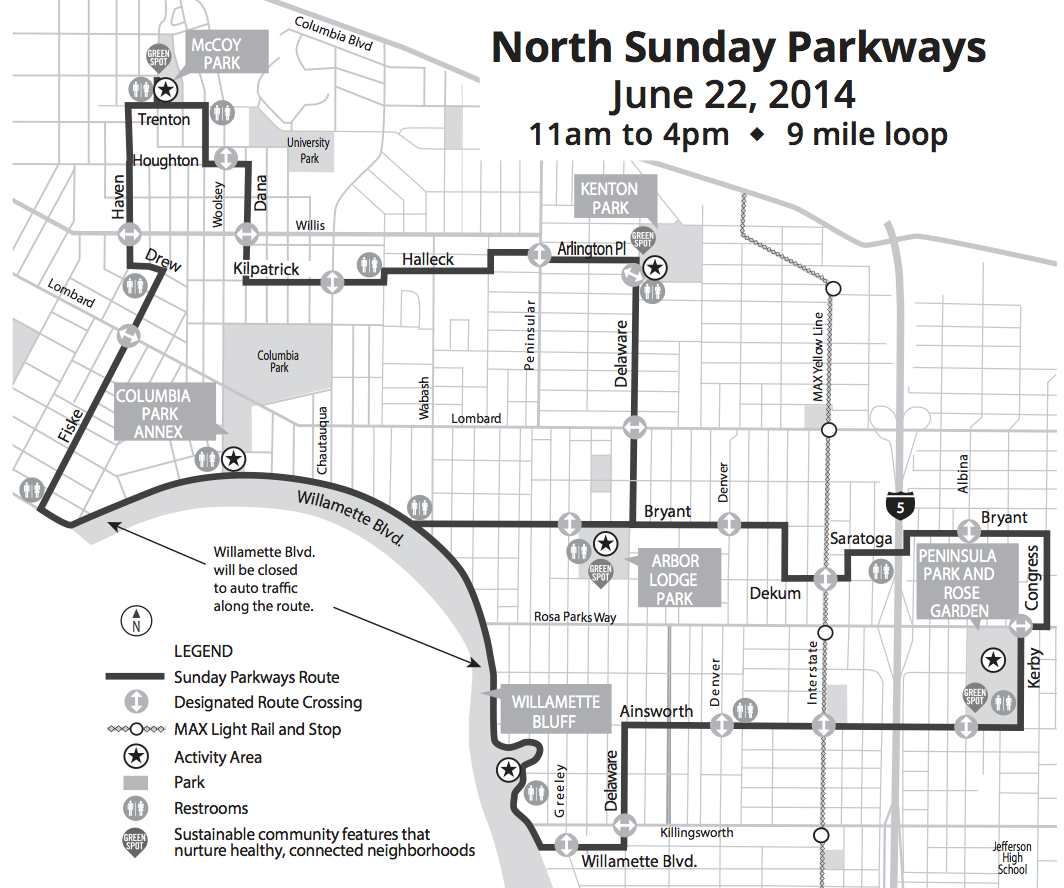 2014 North Portland Sunday Parkways Info: Schedule, Route