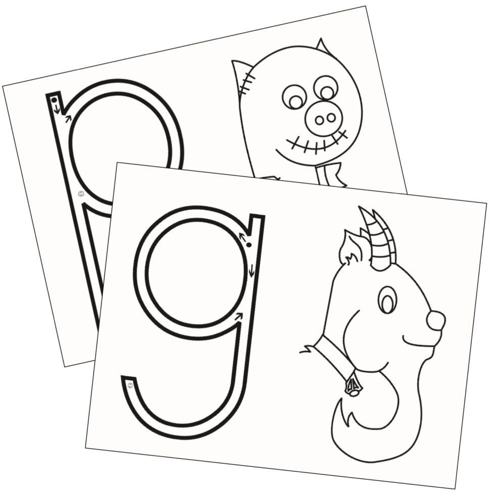 Itchy's Alphabet® Blackline Master 7 g-p-q Reversals