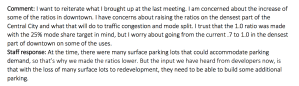 Comment: I want to reiterate what I brought up at the last meeting. I am concerned about the increase of some of the ratios in downtown. I have concerns about raising the ratios on the densest part of the Central City and what that will do to traffic congestion and mode split. I trust that the 1.0 ratio was made with the 25% mode share target in mind, but I worry about going from the current .7 to 1.0 in the densest part of downtown on some of the uses. Staff response: At the time, there were many surface parking lots that could accommodate parking demand, so that's why we made the ratios lower. But the input we have heard from developers now, is that with the loss of many surface lots to redevelopment, they need to be able to build some additional parking.