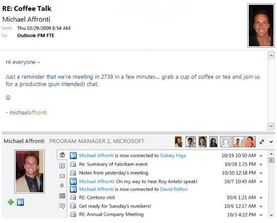Outlook 2010 linkedin