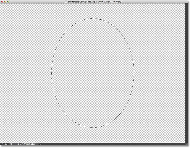 A selection outline drawn with the Elliptical Marquee Tool. Image © 2012 Photoshop Essentials.com