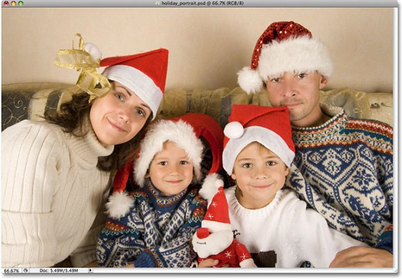 A holiday family portrait. Image licensed from iStockphoto by Photoshop Essentials.com.
