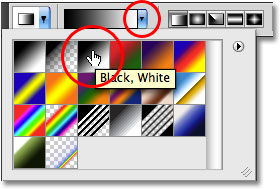 Selecting the black to white gradient from the Options Bar in Photoshop. Image © 2009 Photoshop Essentials.com.