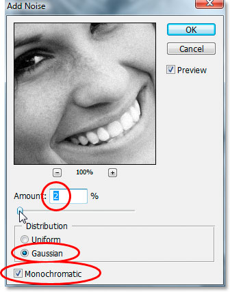 Photoshop's 'Add Noise' dialog box.