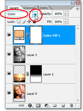 Changing the blend mode of the Solid Color fill layer to 'Color'.