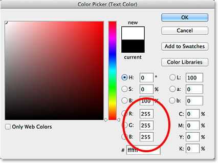 Setting the R, G and B values to white in the Color Picker. Image © 2014 Photoshop Essentials.com