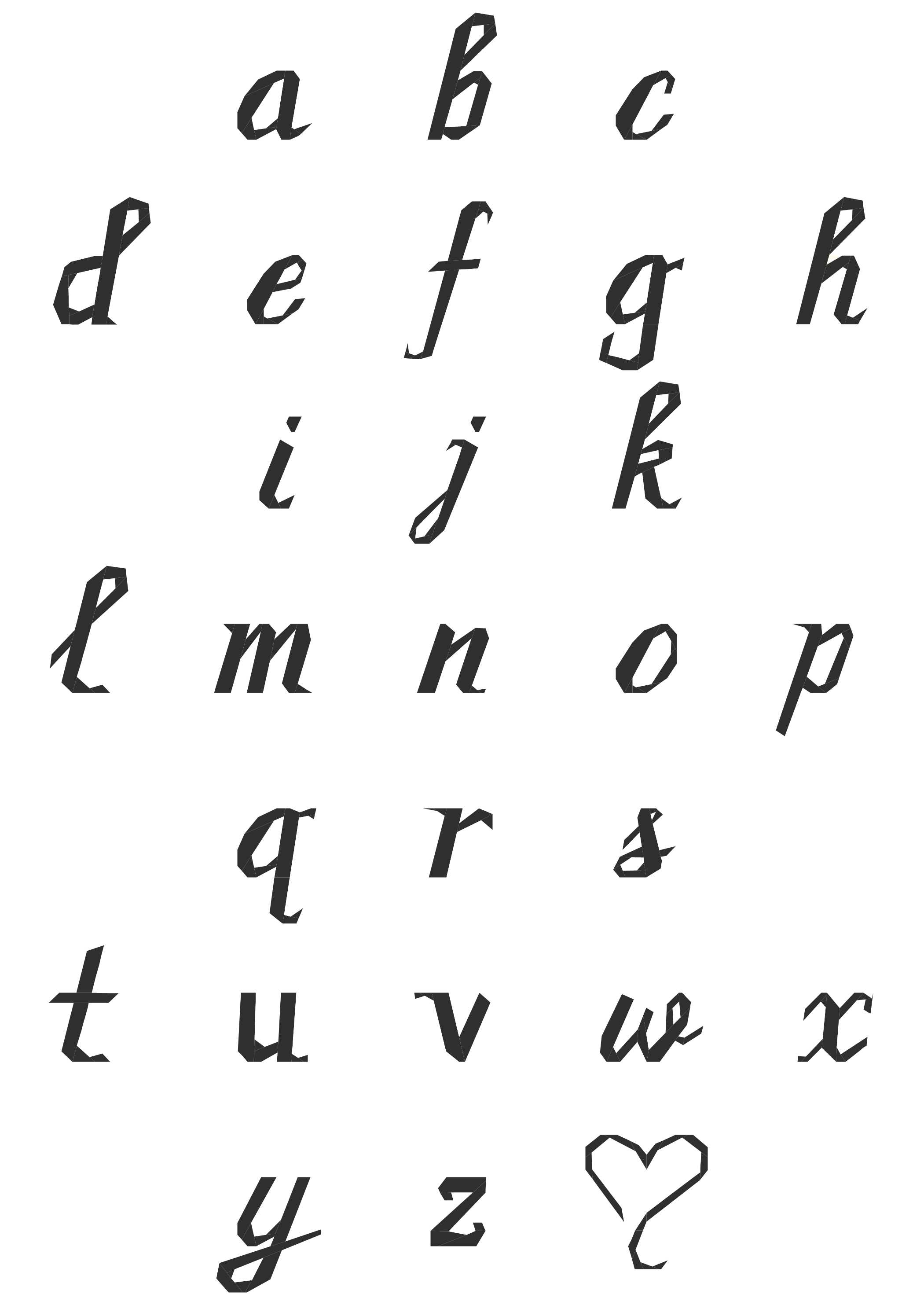 Cursive Script Lowercase Alphabet Paper Pieced Pattern