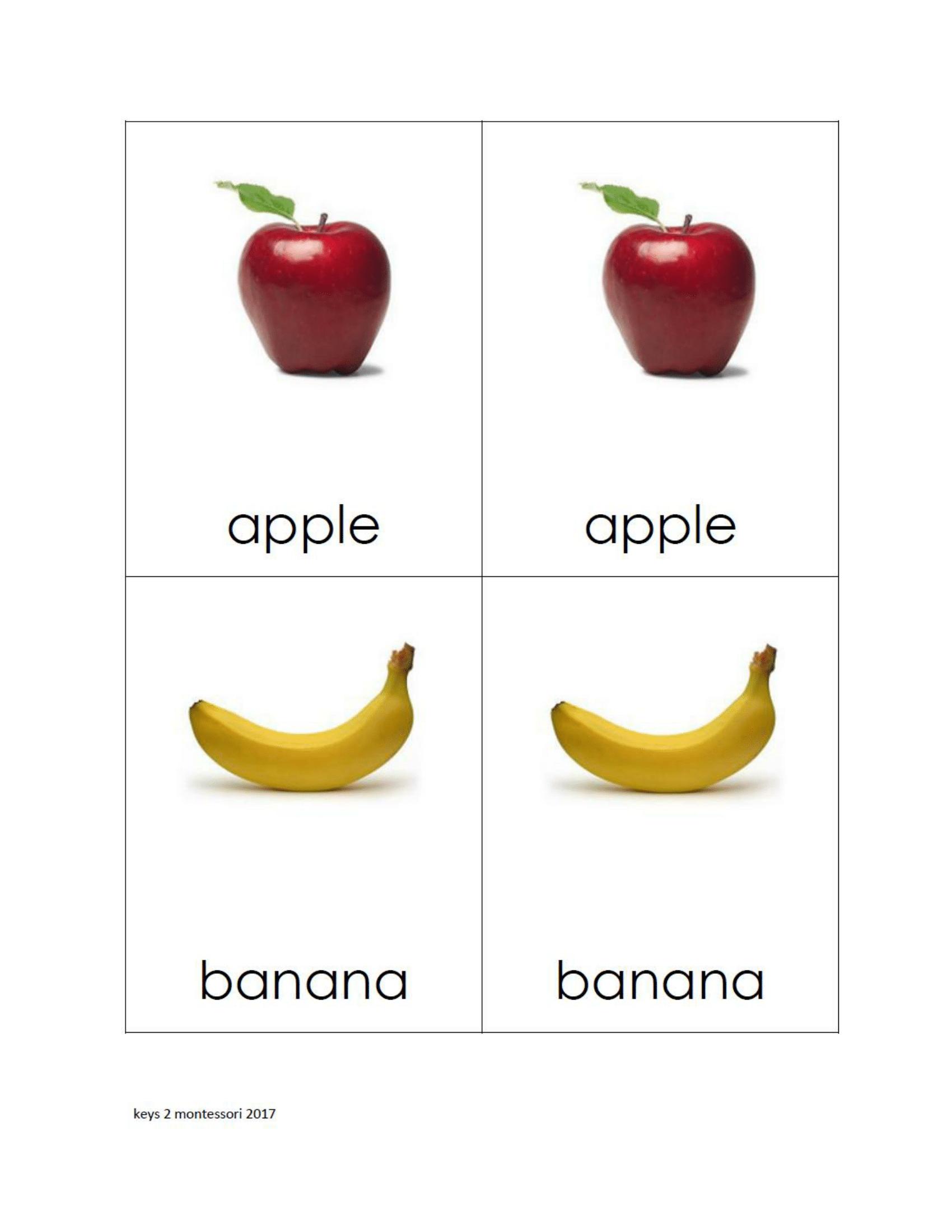 Fruit Matching Cards 2 Print