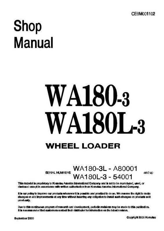 Komatsu WA180-3, WA180L-3 Wheel Loader Shop Manual