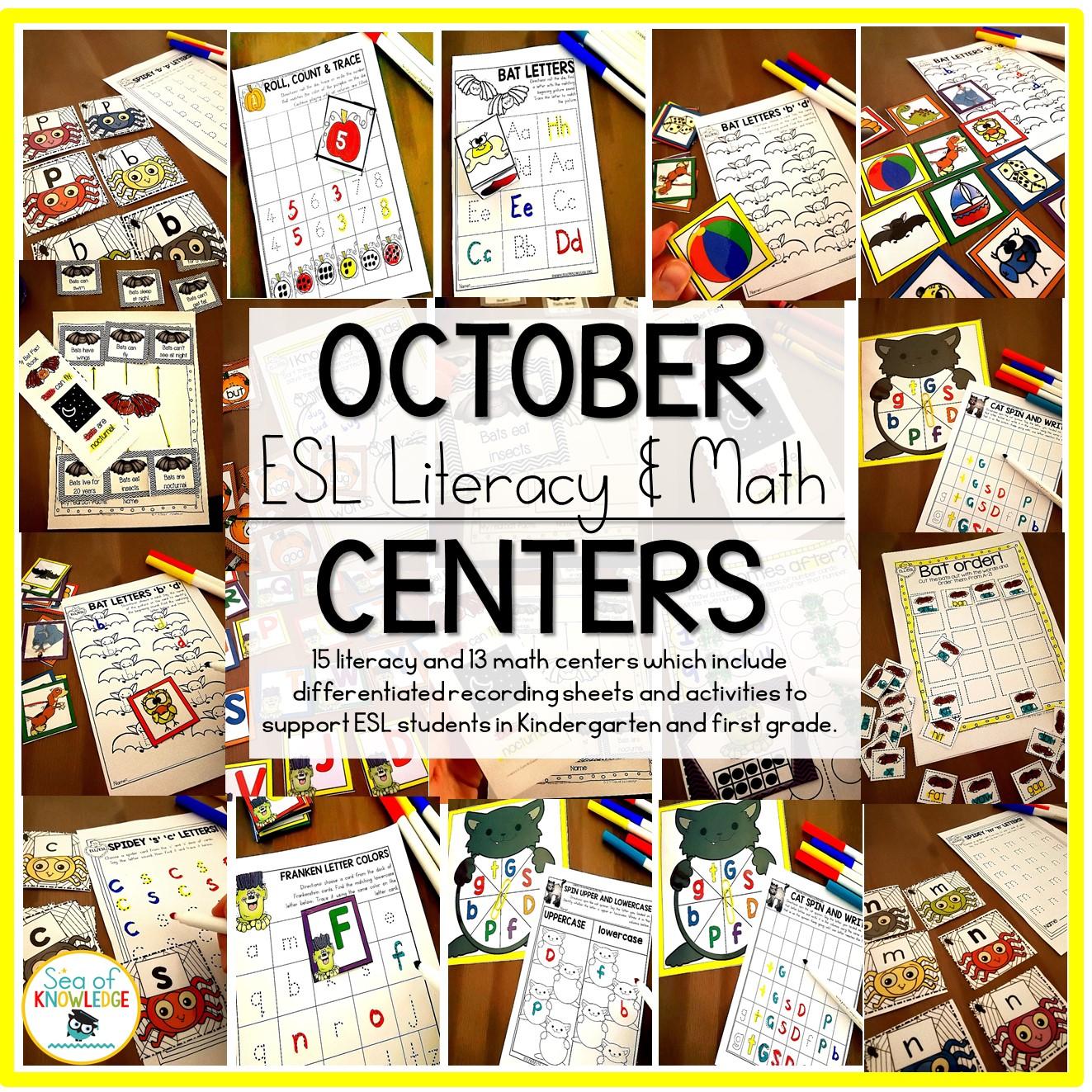 October Centers For Kindergarten