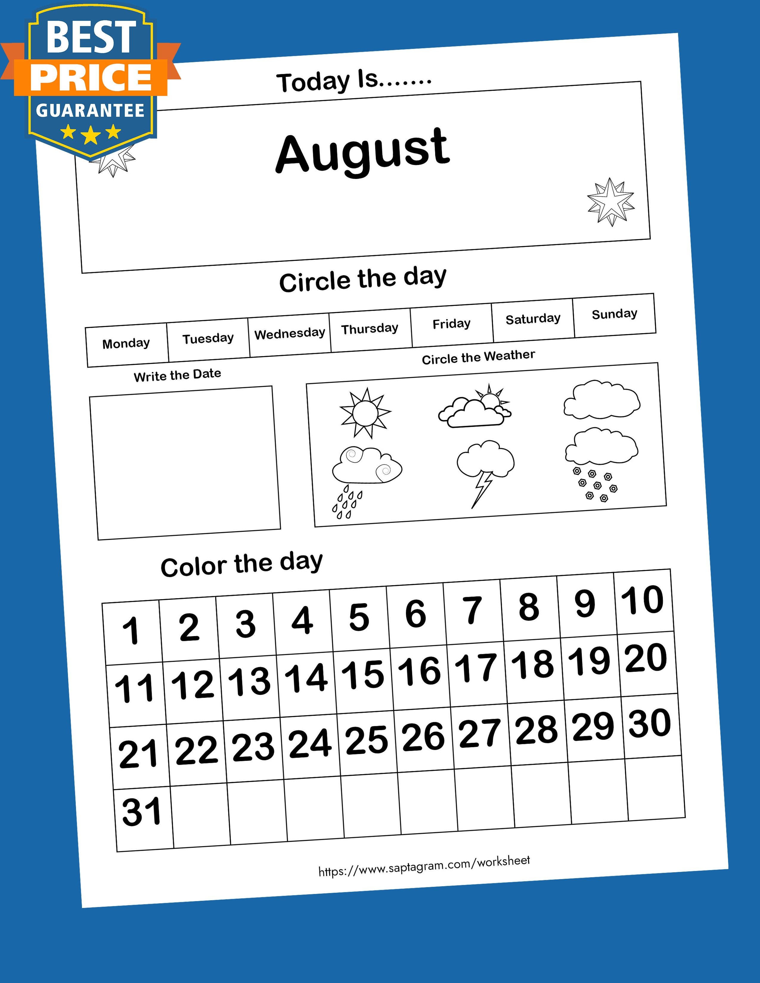 12 Printable Preschool Calendar Worksheet Pages Month