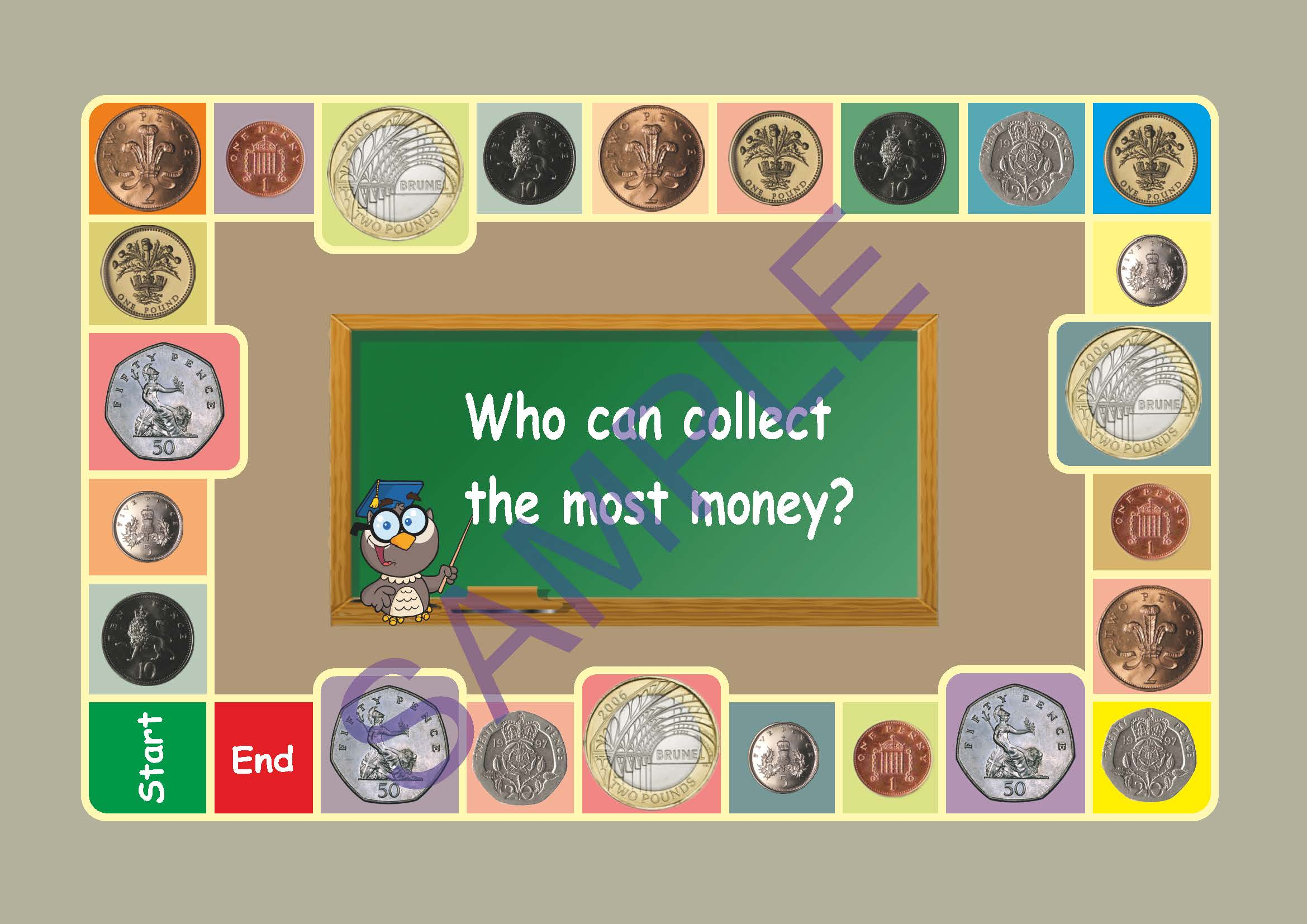 Uk Money A Board Game With All The Coins From 1 Penny To