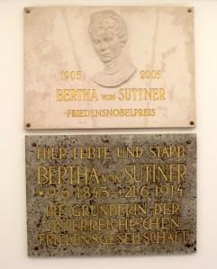 Memorial plaque for Bertha von Suttner at her final residence in Vienna, Austria