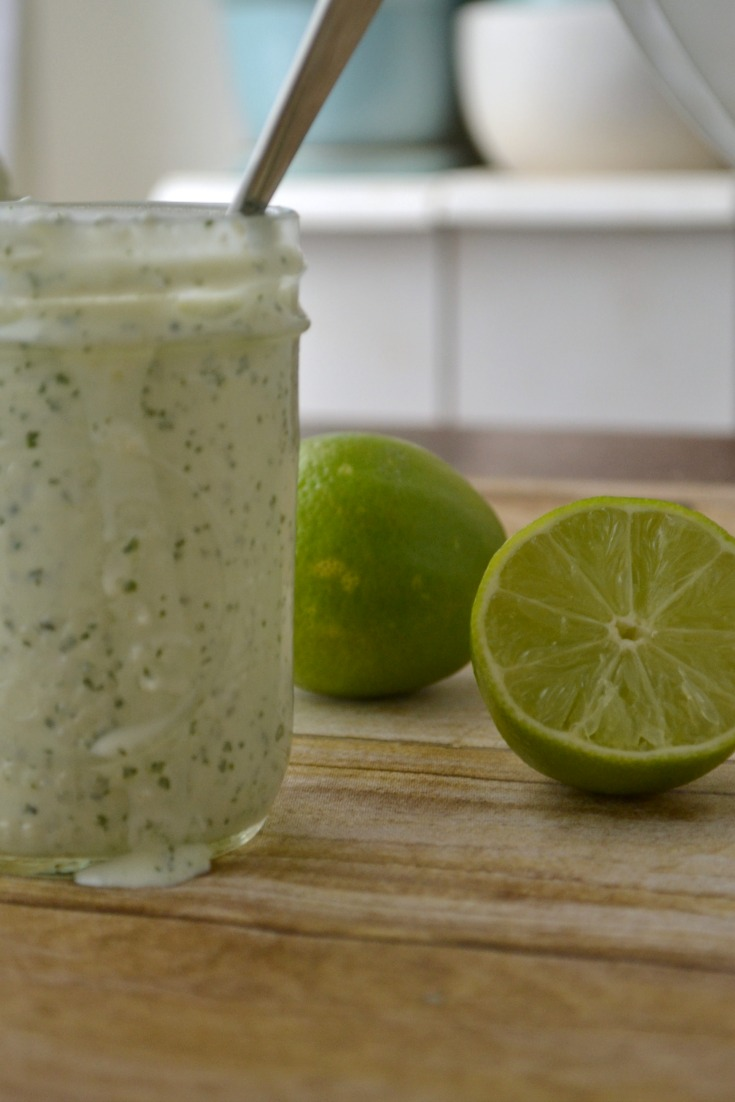 delicious cilantro garlic dressing -- we put this on EVERYTHING!