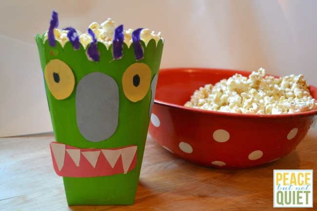 Directions to make a Big Green Monster popcorn box, and a delicious caramel corn recipe!