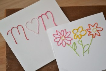 Beautiful and Simple Embroidered Mother's Day Cards