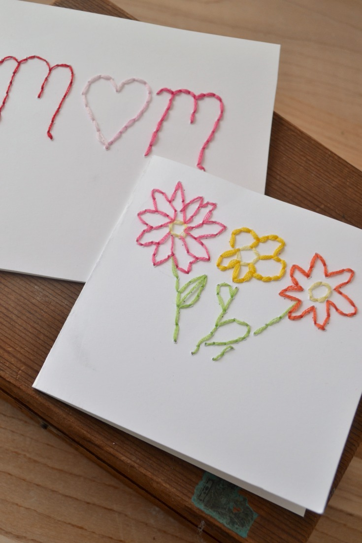 embroidered Mother's Day cards
