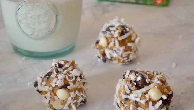 These delicious cranberry chocolate protein bites are full of protein -- a great snack for energetic kids!