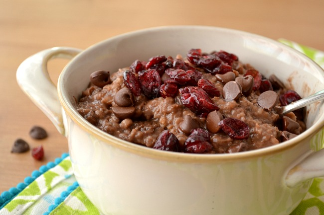 One of the best instant pot recipes for tasty chocolate oatmeal. Easy to make and kids love it! (chocolate for breakfast...what's not to love?)