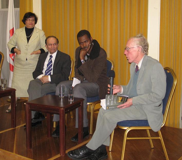 Rev Dr Marcus Braybrooke with Respondents Imam Mahmadou Bocoum and Vijay Metha as well as MC Cllr. Margaret Ali