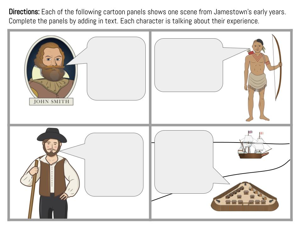 This image shows a black cartoon or students to complete relating to the Jamestown settlement in Virginia.