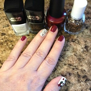 Christmas mani with holly berryish looking shapes.  Allegedly.