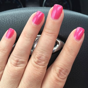 Zoya Azalea in Not My Car--I had a rental for work. I was not actually driving when I took this photo!
