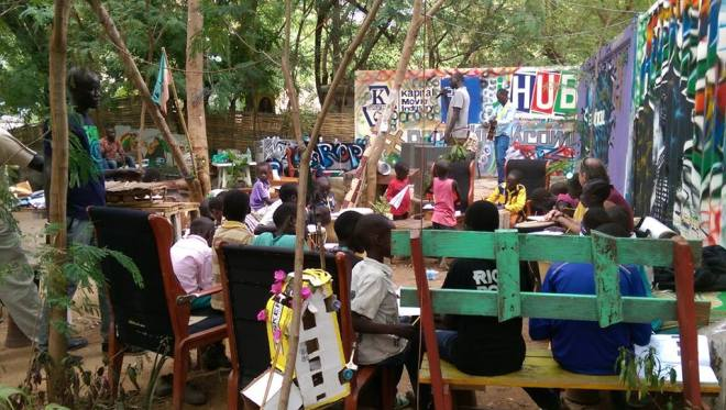 Activities during the #PeaceHackCamp, day 0, at the Aggrey Jaden Culture Centre. Image by K. Lado