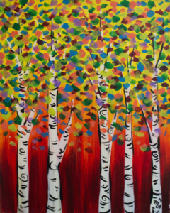 A colorful painting of aspens from the paint mixer event at the Peace House in Park City, Utah