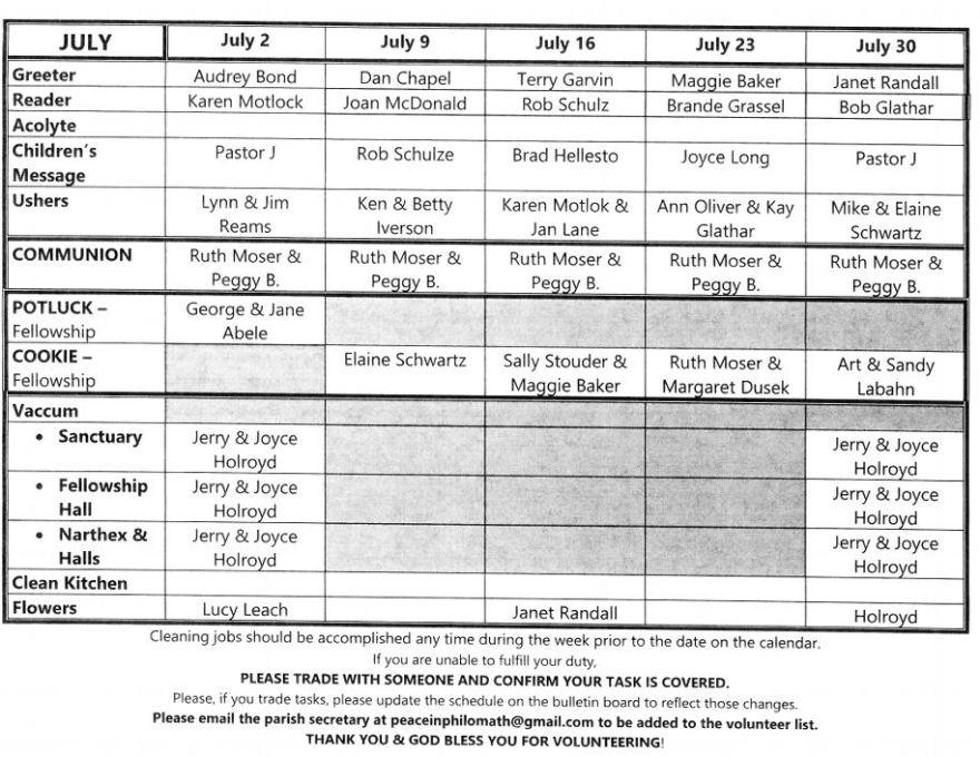 July 2017 Volunteer Calendar - Peace Lutheran Church