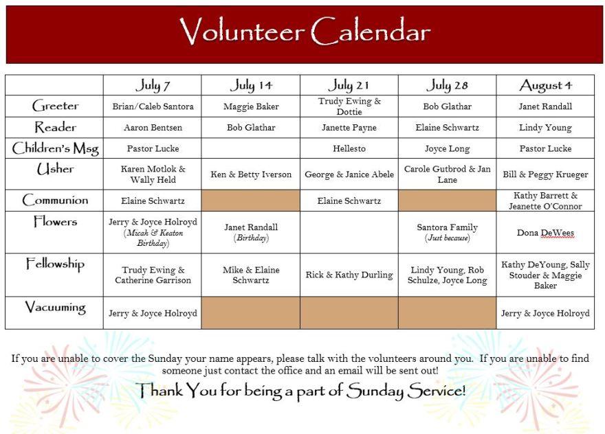 Msg Calendar.July 2019 Volunteer Calendar Peace Lutheran Church