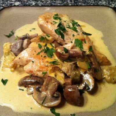 Chicken Dijon with Mushrooms and Artichokes